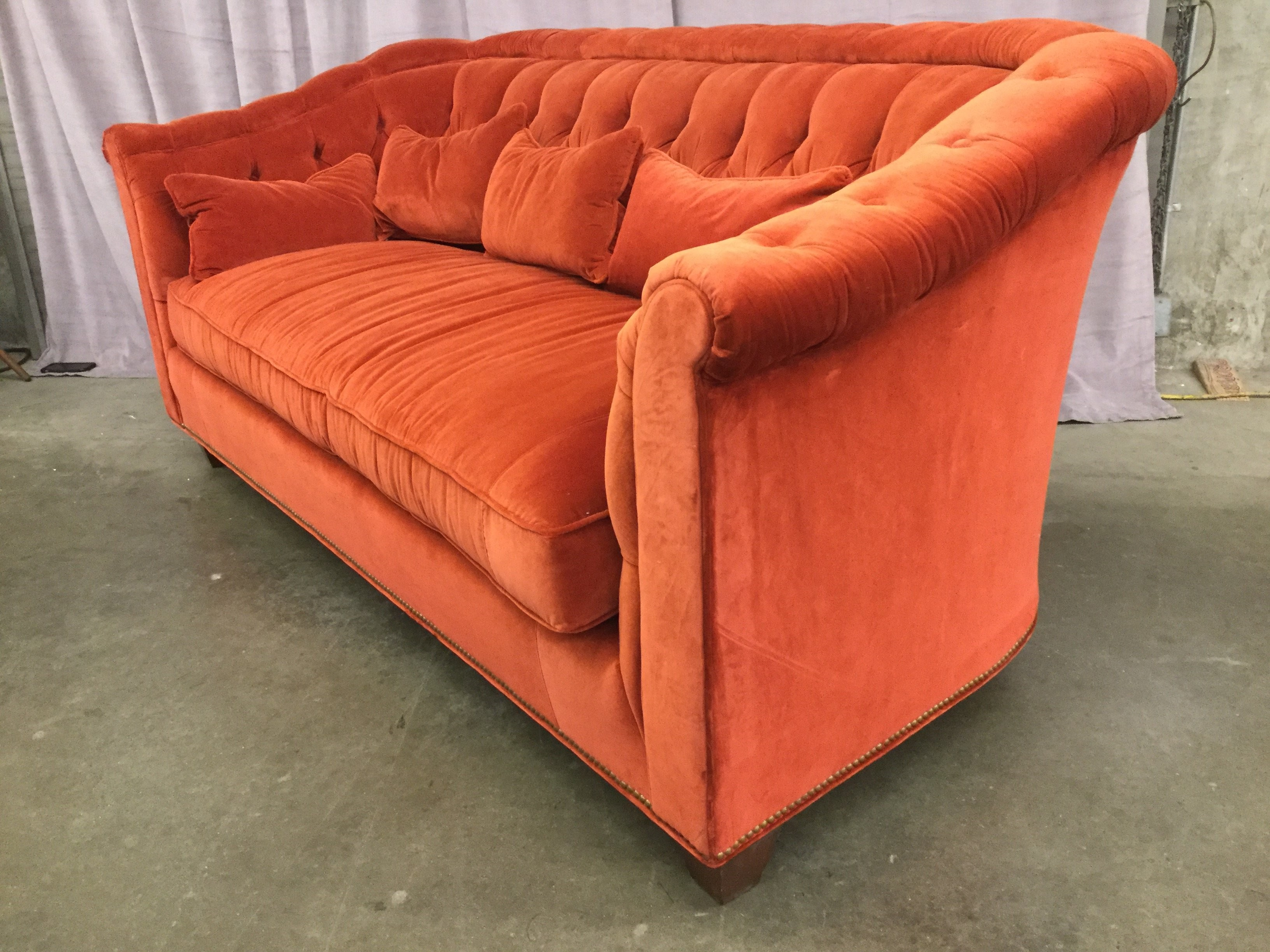 Sofa, Red/Orange Velvet, Chesterfield Style, Buttoned Back ...