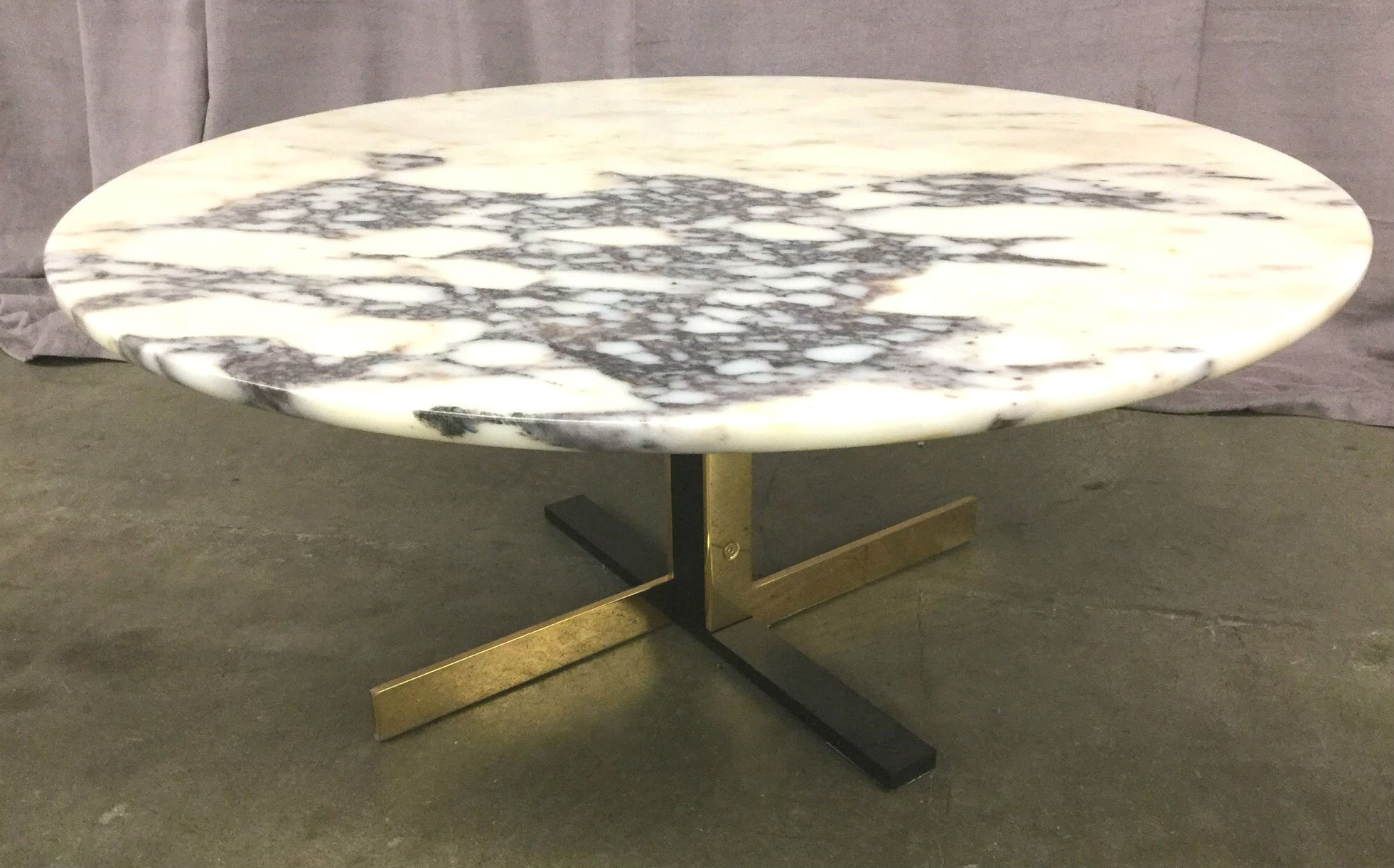 Coffee Table Round Marble Top Black And Gold Steel Base High