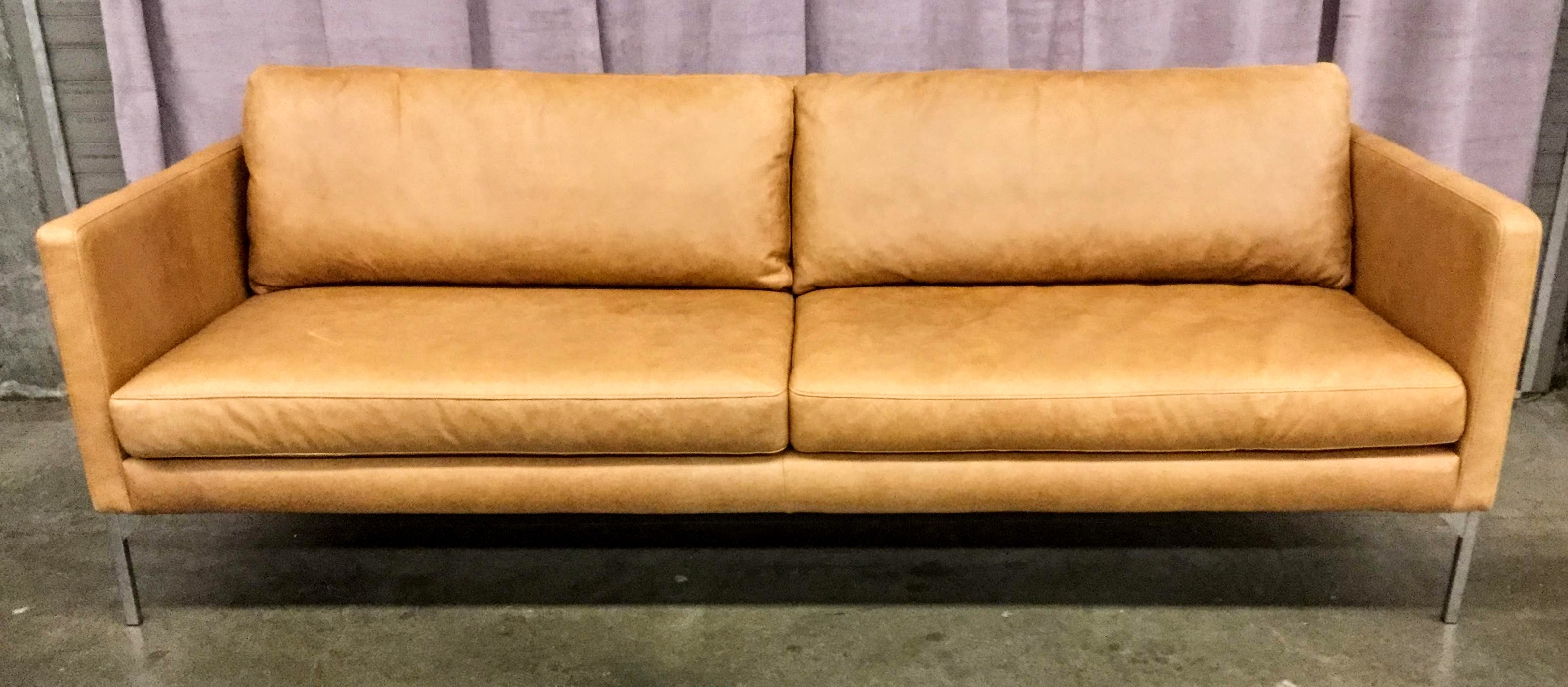 Sofa, Warm Brown Leather, Sim Profile With Steel Square ube Legs, 2 ...