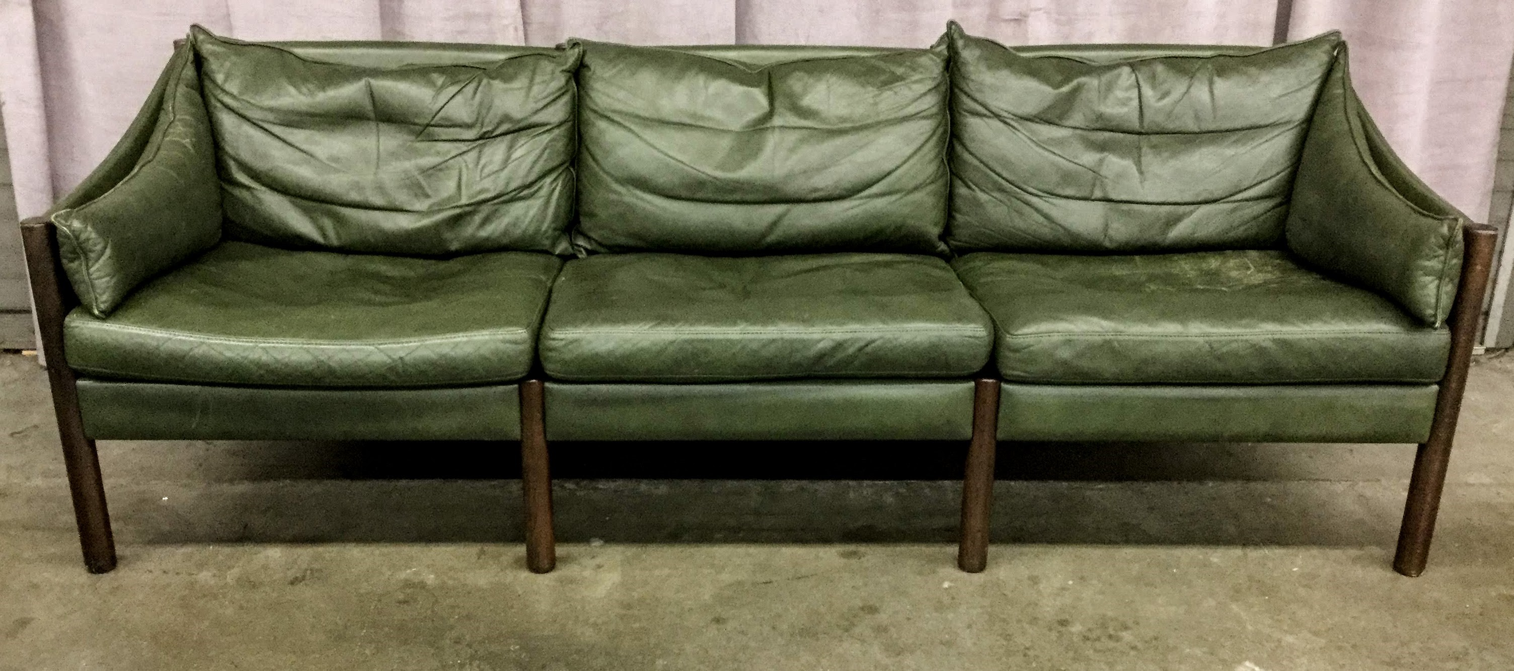 Sofa, Danish Modern, Vintage Green Leather With Round Walnut ...