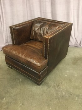 "Club Chair, Italian Leather, Framed With Brass Nail Heads, Deep Seat, Square Mid Centtury Inspired Design , High End Warehouse, Brown, Chair, Chairs, 34""W, 43""d, 31""H, Leather, Wood, 2000's, Mid-Century"