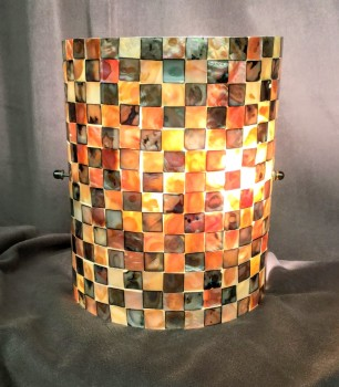 "Flush Mount Wall Sconce, Cut Shell Mosaic Curved Shade, Fixtures, Multi-colored, Indoor Sconce, Sconce, No Visible Wear And Tear, 8""W, 4""D, 10""H, Shell"