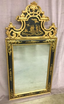 "Mirror, Arch Style Hanging Mirror, W/ Asian Painting Of Children In A Field Above Mirror, W/ Gold Ornate Wood Carved Filigree Around Top Of Mirror, W/ Black Frame W/ Gold Accents And Gold Floral Pattern Around Frame, Warehouse, Mirrored Finish, Black, Hanging Mirror, Mirrors, Normal Wear And Tear, 31""W, 1.5""D, 61.5""H, Mirror, Wood, Floral"
