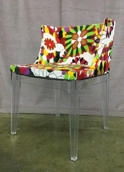 "Accent Chair, Upholstered W/ Multi Colored Floral Fabric, W/ Solid Acrylic Frame And Tapered Acrylic Legs (Set Of 2, 1 Of 2 Matches 31105307), Warehouse, Multi-colored, Clear, Accent Chair, Chairs, Red, White, Yellow, Normal Wear And Tear, 20.5""W, 19""D, 29.5""H, Acrylic, Canvas, Floral"