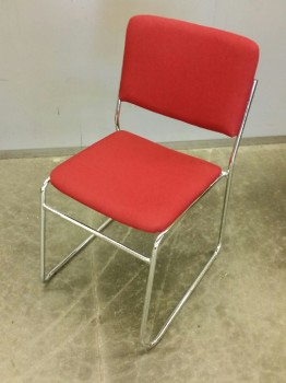 Stacking Chair, Red Fabric, Chrome Frame, 1 Of 30 #32103901 Thru 32103930, Warehouse, Red, Silver, Stacking Chair, Chairs, No Visible Wear And Tear, 19