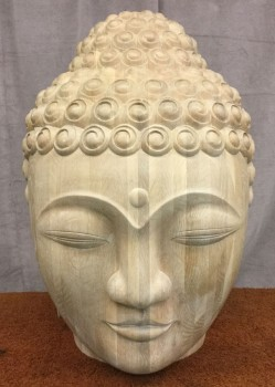 "Buddha Head, Large Two Feet In Diameter, Carved Laminated Oak, With Light Wash Finish, High End Handprops, Tan, High End Decorative Item, Decorative, No Visible Wear And Tear, 24""W, 24""D, 30""H, Christopher Guy, Oak, Enamel, Object"