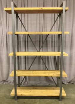 "Shelf Unit, 5 Fir Shelves On Aged Steel Finished Frame, X Braced Back, Warehouse, Brown, Woodgrain Finish, Shelf, Shelves, Aged, Gray, 47""W, 14""D, 78""H, Fir, Metal, 2000's, Rustic"