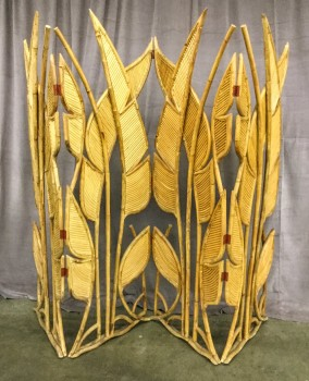 "Folding Screen, Room Partition, Carved Rattan, Palm Leaf Design, Four Hinged 24"" Wide Panels, Red Hinges, Warehouse, Tan, Blond, Screen, Screens, Red, Normal Wear And Tear, 72""W, 24""D, 76""h, Rattan, Floral"