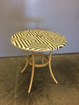 "Cafe Table, Bistro Table, Southwestern, Woven, Black And Beige, Metal Frame, Warehouse, Restaurant Table, Tables, 28"" R , 28"" H , Plastic, Metal"