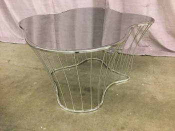 "Coffee Table, Polished Stainless Steel, Irregular Organic Amoeba Shaped Top, Wire Base, High End Warehouse, Silver, Coffee Table, Table, 36""W, 34""D, 18""H, Stainless Steel, 2000's, Modern"