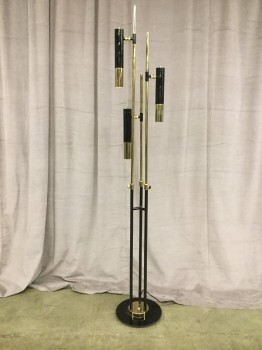 "Floor Lamp, High Gloss Black With Gold Finish, 3 Cylindrical Shades On 3 Adjustable Stands, Circular Base, Delightufl Ike, Fixtures High End, Black, Gold, High End Floor Lamp, INDOOR, 70""H, 16""W, Metal, 2000's, Modern"