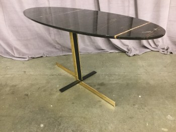 "Accent Table, Black Marble Oval Top, Beveled Metal Base, Black And Gold Plated, High End Warehouse, Black, Gold, Accent Table, Table, White, 59""W, 19.5""D, 25""H, Marble, Gold-plated, 2000's, Modern"