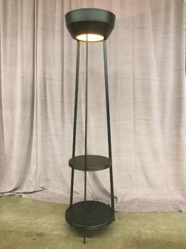"Floor Lamp, Oxidized Welded Steel Construction, Tripod Surrounding Two Disks And The Shade With Glass Under Lense On Top, Fixtures High End, Black, Brown, High End Floor Lamp, INDOOR, Rust, 19""Di, 70""H, Steel, Glass, 2000's, Industrial"
