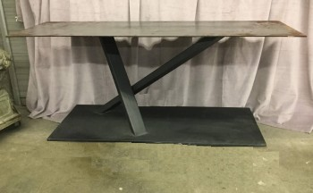 "Cut Steel Console Table, Raw Steel Top Woth Black Powdercoat X Pattern Base, Warehouse, Steel Gray, Black, Console Table, Table, Normal Wear And Tear, 72""L, 24""W, 30""H, Steel, Not Applicable"