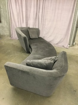 "Semi Round Sofa, Opposing Back Rests, Gray Chenille Upholstery, Steel Base, 4 Throw Pillows With Matching Fabric, High End Warehouse, Gray, Hign End Sofa, Sofas, 130""w, 46""D, 30""H, Chenille, Steel, 2000's, Contemporary"