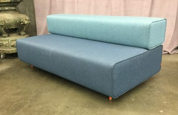 "Block Foam Sofa With Removable Back Rest, Light Blue On Blue Upholstered With Woven Fabric, Round Metal Legs Powder Coated Orange, Warehouse, Lt. Blue, Blue, Sofa, Sofas, Orange, Normal Wear And Tear, 72""W, 36""D, 28""H, Poppin Block Party , Upholstery, Steel, Not Applicable"