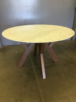 Dining Table, White Carrara Marble Top, American Walnut Legs,