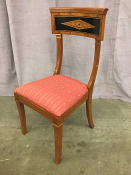 "Side Chair, Biedermeir Style, Burled Fruitwood, Black Inverted Diamond Design With Pearl Inlay And Marquetry, Rose Upholstery With Floral Pattern, High End Warehouse, Brown, Black, Chair, Chairs, Rose Pink, 19""W, 19""D, 37""H, Fruitwood, Upholstery, 19th Century, Biedermeier"