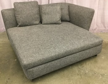 "Sofa Chaise, Corner, Gray Tweed Upholstery, Down Seat Cushion, 3 Asymetrical Back Pillows, Corner Piece, Gray Metal Base, 3 Throws With Matching Fabric, High End , Gray, Chaise, Sofas, 60""W, 60""D, 28""H, Tweed, Wood, 2000's, Contemporary"