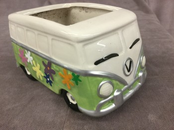 "Hippie Van Planter, HANDPROP, Green, White, Planters, Greens, No Visible Wear And Tear, 6""L, 4""W, 3.5""H"