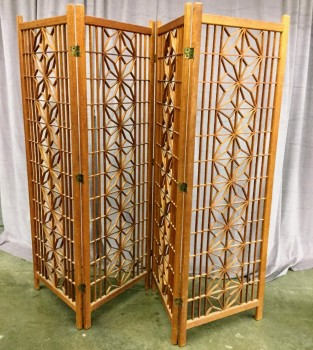 "Room Divider, 4 Panel Folding Screen, Starbust Pattern, Each Panel Is 24"" Wide, Brass Hinges, Teak With Aged Redish Finish, Warehouse, Redbrown, Screen, Screens, Normal Wear And Tear, 72""W, 1""D, 71""H, Teak, Geometric"
