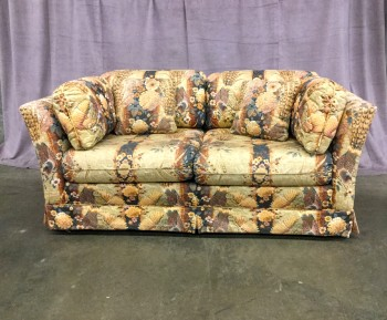 "Loveseat, W/ Floral & Pheasant Fabric, Comes W/ 6 Pillows W/ Matching Fabric, Warehouse, Lt. Yellow, Navy Blue, Loveseat, Sofas, Cream, Redbrown, Lt. Gold, Normal Wear And Tear, 63.5""W, 34.5""D, 30""H, Upholstery, Floral"