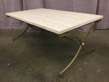 "Cocktail Table, Travertine Top, Rectangle, Curved  X Crossed Legged Base With Gold Finish, Warehouse, Off-white, Gold, Coffee Table, Tables, 48""W, 28""D, 19""H, Travertine Marble, Steel, 2000's, Mid-Century"