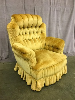 "Tufted Armchair, On 4 Casters, W/ Yellow Pleated Skirt To Hide Casters, W/ Tufted Armrests, Chair Rolls And Swivels, Warehouse, Dk. Yellow, Arm Chair, Chairs, Normal Wear And Tear, 35""W, 35""D, 40.5'H, Upholstery, Not Applicable"
