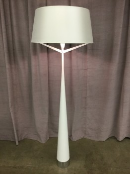 "Floor Lamp, Elegant Modern Steel And PVC Construction, Chromed Base W/ Large Silk Drum Shade, Fixtures High End, White, High End Floor Lamp, INDOOR, Pristine Or In Mint Condition, 23.75L, 23.75W, 67""H, Modani, Plastic, Steel"