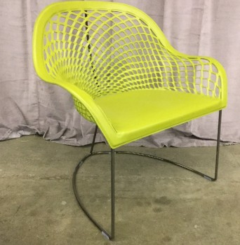 "Arm Chair, Cut Leather Web Pattern, Avacado Green, Surdy Iron Wire Base, Midj Guapa AT, High End , Green, Silver, Arm Chair High End, Chairs, 32""W, 24""D, 32""H, Leather, Steel, 2000's, Italian"