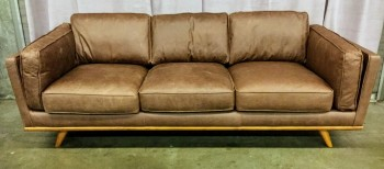"Sofa, brown, track arms, padded back and seat cushions, Pecan Legs And Frame. Charme Mocha Leather, Las Vegas Aria, High End Warehouse, Mocha, Brown, Hign End Sofa, Sofas, Pecan Wood, No Visible Wear And Tear, 89""W, 37""D, 32""H, Leather, Hardwood"