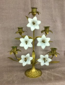 "Candelabra, Brass W/ 5 Milk Glass White Flowers, W/ Round Brass Base W/ Floral Engraving, HANDPROP, Brass , White, Candle Holder, DÉCOR, Normal Wear And Tear, 11""W, 4""D, 14.5""H, Milk Glass, Brass, Not Applicable"