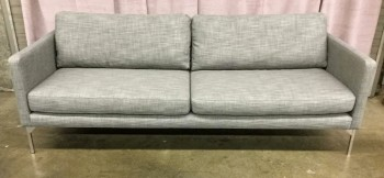 "Sofa, Gray Woven Fabric, Brushed Tube Steel Legs, 2 Seat Cushions, 2 Back Cushions, Loose, High End Warehouse, Gray, Silver, Hign End Sofa, Sofas, No Visible Wear And Tear, 84""W, 35""D, 32""H, Upholstery, Steel"