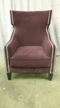 Accent Chair, Wingback, Silver Decorative Tacks, Black Legs, Warehouse, Dk. Purple, Black, Accent Chair, Chairs, Fabric, Wood