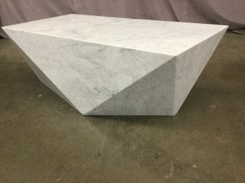 "Marble Table, Modern Design, Asymmetrical Facets, High End , Black & White, Marbled Finish, Coffee Table, Tables, 46""L, 15""D, 17""H, Marble, Carrara, 2000's, Modern"