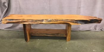 "Live Edge Solid Wood Bench, Backless, Warehouse, Lt. Brown, Brown, INDOOR BENCH, BENCH, Normal Wear And Tear, 63""W, 18""D, 17""H, Wood, Nature"