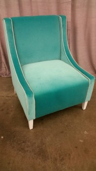 Accent Chair, Turquoise Fabric With White Piping And White Wood Legs, Warehouse, Turquoise Blue, White, Accent Chair, Chairs, Good, Fabric, Wood