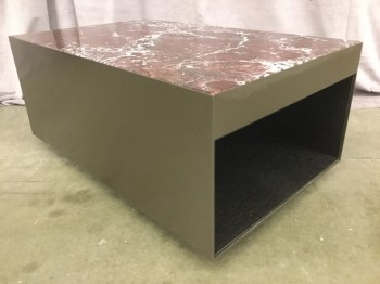"Coffee Table, Purple Marble Top, Steel Base With Satin Bronze Finish, Dark Laquered Open Grained Hardwood Inside, High End Warehouse, Purple, White, Coffee Table, Table, Bronze, Black, 31.5""W, 19.5""D, 14""H, Marble, Steel, 2000's, Modern"