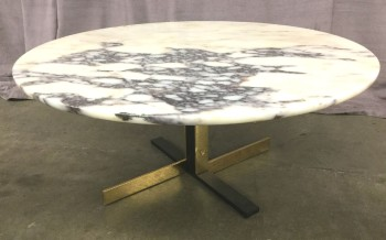 "Coffee Table, Round Marble Top, Black And Gold Steel Base, High End Warehouse, Black & White, Gold, Coffee Table, Table, 31.5""D, 14""H, Marble, Carrara, Steel, 2000's, Italian"