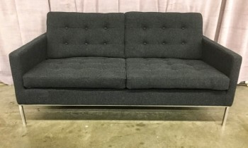 "Love Seat, Charcoal Gray / Black  Hopsack Upholstery, Buttoned Tufted Seat And Back Cushions, Brushed Tube Steel Legs, High End Warehouse, Charcoal Gray, Silver, Hight End Loveseat, Sofas, No Visible Wear And Tear, 63""W, 33""D, 30""H, Upholstery, Steel"