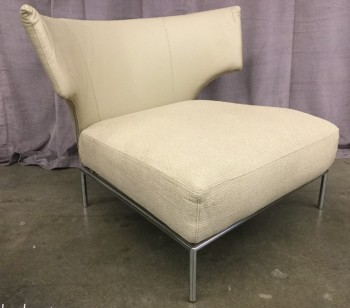 "Lounge Chair, Beige, Leather Back Rest, Heathered Fabric Seat, Tubular Steel Frame And Legs, Modern Design, High End Warehouse, Beige, Chair, Chairs, 41""W, 36""D, 29""H, Leather, Fabric, 2000's, Italian"