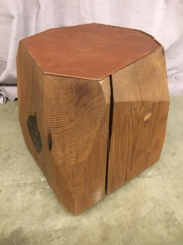 "Accent Table, Stool, Faceted Red Cedar Log, Inset Leather Upholstered Steel Top, High End Warehouse, Brown, Brown, Accent Table, Table, 17"", 17"", 16""H, Cedar, Leather, 2000's, Modern"