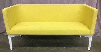 "Sofa, Bench Style Warp Around Back Rest, Steel Free Stadning Legs With White Powder Coated Finish, High End Warehouse, Yellow, White, Hign End Sofa, Sofas, Normal Wear And Tear, 58""W, 28""D, 29""H, Steel Case, Cotton Blend, Steel, Not Applicable"