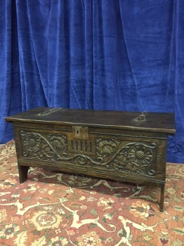 "Trunk, Chest, Oak, Dark Finish, Steel Hinges, Steel Decals, Carved Floral Design, Warehouse, Dk. Brown, TRUNK, Trunk, 46"" W , 18"" D , 22"" H , Oak, Steel"