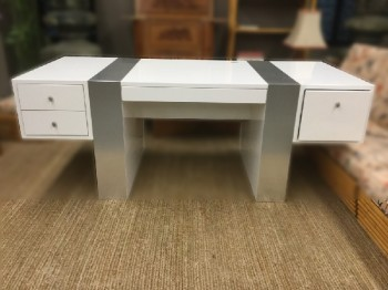 "Executive Desk, White Laquer With Brushed Aluminum Finish On Legs And Top, Asymmetrical Drawers, 5 Drawers Total, High End , White, Silver, Executive Desk, Desks, 78.5"", 34""D, 30""H, Particle Board, Modern"