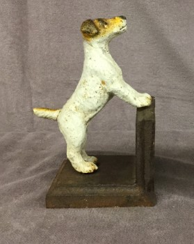 "Jack Russel Book End, Left Piece, HANDPROP, Off-white, Brown, Bookends Or Stands, Books, Normal Wear And Tear, 3""W, 4""D, 6""H, Cast Metal, Object"