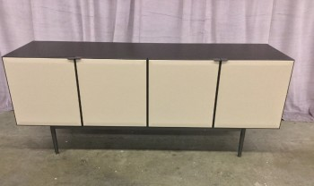 "Side Board, Beveled Doors With Soft Closing Hinges, Mocha Leather Covered Front, Steel Base With Gloss Black Finish, Wood Grained Top And Sides With Dark Finish, High End Warehouse, Mocha, Dk. Brown, Sideboard , Cabinets, Black, 71""W, 20""D, 29""H, Wood, Leather, 2000's, Contemporary"