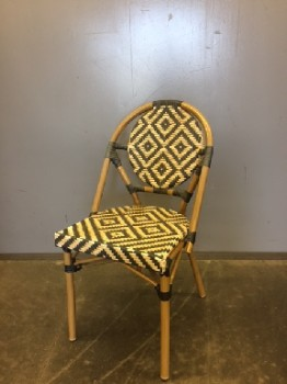 Bistro Chair, Stacking Chair, Woven Vinyl, African Pattern, Light Brown And Black, Warehouse, Black, Lt. Brown, Restaurant Chair, Chairs