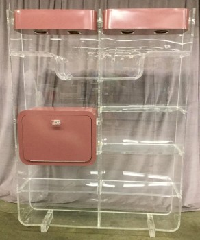 "Shelf Thick Acrylic/Lucite Clear Shelving Unit, W/ 10 Shelves, W/ 4 Puck Lights Built Inside Top Of Shelf Inside 2 Mauve Light Boxes, 1 Mauve Cabinet W/ Drop Down Door W/ One White Shelf Inside Cabinet, Warehouse, Clear, Mauve, Shelf, Shelves, White, Normal Wear And Tear, 60""W, 12.5""D, 80""H, Acrylic, Lucite, Not Applicable"