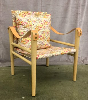 "Chair Known As A Toulouse Chair W/ Leather Armrests Attached To The Chair W/ Snaps, Solid Wood Frame, W/ Floral Pattern On Upholstery And Reclining Backrest , High End Warehouse, Tan, Red, Chair, Chairs, Lt. Brown, Yellowgreen, Yellow, Normal Wear And Tear, 23.5""W, 24""D, 31""H, Temps Libre, Wood, Upholstery, Floral"